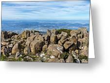 Rocky Mountain Summit Overlooking Beautiful Vally Greeting Card