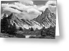 Rocky Mountain Tranquil Escape In Black And White Greeting Card