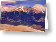 Rocky Mountains And Sand Dunes Greeting Card