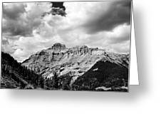 Rocky Mountains Of Colorado  Black And White Greeting Card