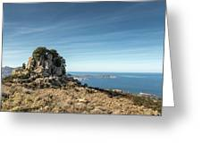 Rocky Outcrop Above Calvi Bay In Corsica Greeting Card