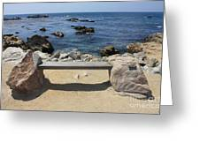 Rocky Seaside Bench Greeting Card