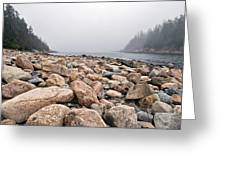 Rocky Shore In Ships Harbor Cove Greeting Card