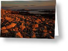 Rocky Shoreline And Islands At Sunset Greeting Card