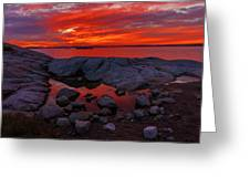 Rocky Shoreline At Sunset Greeting Card