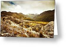 Rocky Valley Mountains Greeting Card