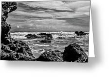 Rocky Waters In Bw Greeting Card