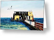 Rod And Reel Fishing Pier Greeting Card