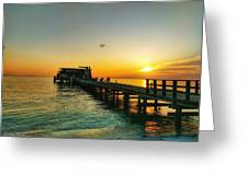 Rod And Reel Pier Sunrise 2 Greeting Card