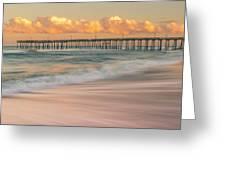 Rodanthe Fishing Pier Sunset On The Outer Banks In Carolina Panorama Greeting Card
