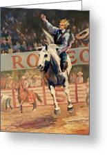 Rodeo   Bareback Bronc Painting Greeting Card