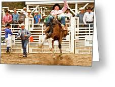 Rodeo Cowboy Riding A Bucking Bronco Greeting Card