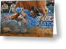 Rodeo Houston --steer Wrestling Greeting Card