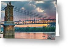 Roebling Suspension Bridge - Cincinnati, Ohio Greeting Card
