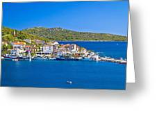 Rogoznica Harbor And Waterfront View Greeting Card