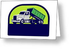 Roll-off Truck Side Up Half Circle Retro Greeting Card