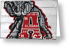 Roll Tide Alabama Crimson Tide Recycled State License Plate Art Greeting Card