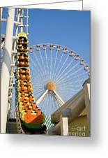 Roller Coaster And Ferris Wheel Greeting Card