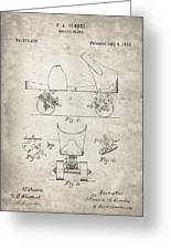 Roller Skate Patent - Patent Drawing For The 1882 F. A. Combes Roller Skate Greeting Card
