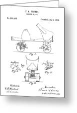 Roller Skate Patent - Restored Patent Drawing For The 1882 F. A. Combes Roller Skate Greeting Card