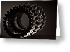 Rollin' Gears Black And White Greeting Card