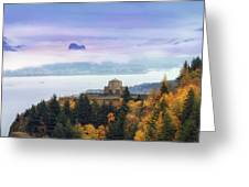 Rolling Fog At Columbia River Gorge In Fall Greeting Card