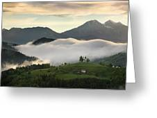 Rolling Fog At Sunrise In The Skofjelosko Hills With St Thomas C Greeting Card