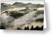 Rolling Fog At Sunrise In The Skofjelosko Hribovje Hills With St Greeting Card