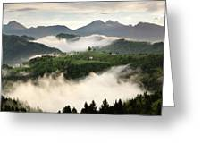 Rolling Fog At Sunrise With Mountains Of Kamnik Savinja Alps At  Greeting Card