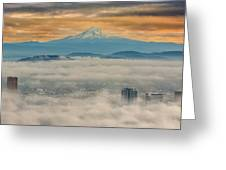 Rolling Low Fog Over City Of Portland Greeting Card