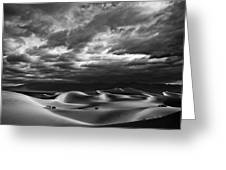 Rolling Sand Dunes Bw Greeting Card