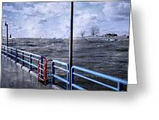 Rolling Waves In Winter At Grand Haven Greeting Card