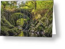 Roman Bridge , Penmachno  Greeting Card