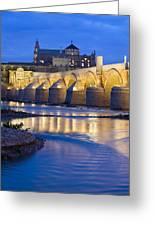 Roman Bridge On Guadalquivir River At Dawn Greeting Card
