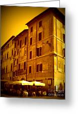 Roman Cafe With Golden Sepia 2 Greeting Card