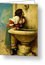 Roman Girl At A Fountain Greeting Card