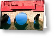 Roman Style Bridge On Red Sea Greeting Card