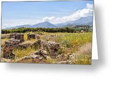 Roman Villa Ruins At Makry Gialos Greeting Card