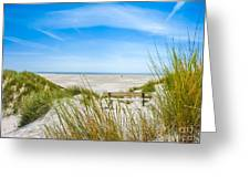 Romantic Bench In The Dunes Overlooking The German North Sea Greeting Card