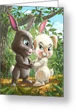 Romantic Cute Rabbits Greeting Card