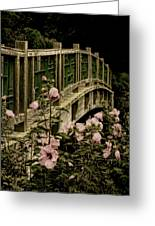 Romantic Garden And Bridge Greeting Card