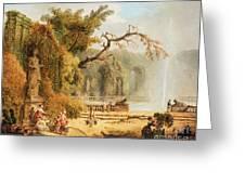 Romantic Garden Scene Greeting Card by Hubert Robert