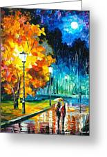 Romantic Night 2 - Palette Knife Oil Painting On Canvas By Leonid Afremov Greeting Card