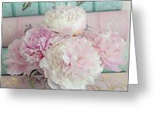 Paris Peonies Floral Books Art - Pink And Aqua Peonies Books Decor - Shabby Chic Peonies  Greeting Card