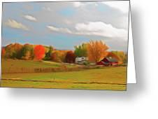 Romantic Skies Autumn Farm Greeting Card