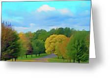 Romantic Skies Autumn Road Greeting Card