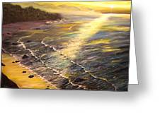 Romantic Sunset Surf Greeting Card