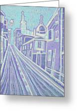Romantic Town In Blue Greeting Card