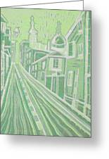 Romantic Town In Green Greeting Card