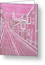 Romantic Town In Red Greeting Card